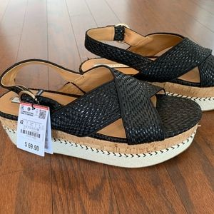 Zara Black Platform Wedges - Size 11
